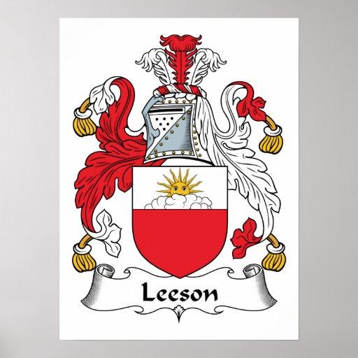 Escudo de la familia de Leeson Póster