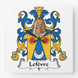 Escudo de la familia de Lefevre Reloj Cuadrado