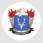 Escudo de la familia de Legg Pegatina Redonda