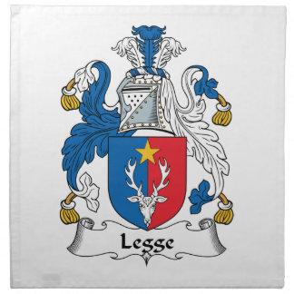 Escudo de la familia de Legge Servilleta Imprimida