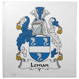 Escudo de la familia de Leman Servilleta Imprimida