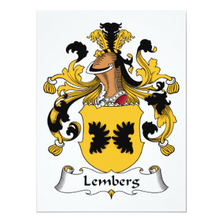 Escudo de la familia de Lemberg Invitación 16,5 X 22,2 Cm