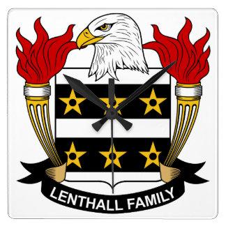 Escudo de la familia de Lenthall Reloj Cuadrado