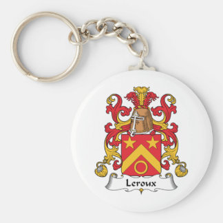 Escudo de la familia de Leroux Llavero Redondo Tipo Pin