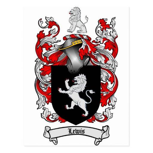 Escudo de la familia de Lewis - escudo de armas de Postal