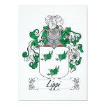 Escudo de la familia de Lippi Invitación 12,7 X 17,8 Cm