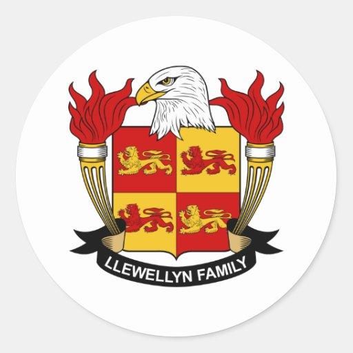 Escudo de la familia de Llewellyn Pegatina Redonda