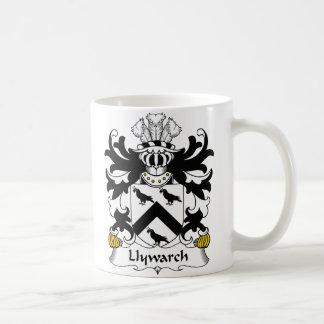 Escudo de la familia de Llywarch Taza Básica Blanca