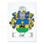 Escudo de la familia de Lodi Invitación 12,7 X 17,8 Cm