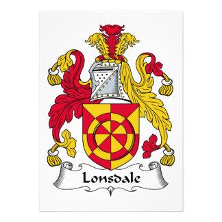 Escudo de la familia de Lonsdale Invitación Personalizada