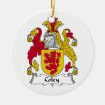 Escudo de la familia de los Coley Ornamentos De Navidad