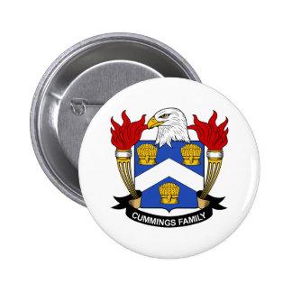 Escudo de la familia de los Cummings Pin Redondo De 2 Pulgadas
