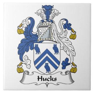 Escudo de la familia de los Hucks Azulejo Cuadrado Grande