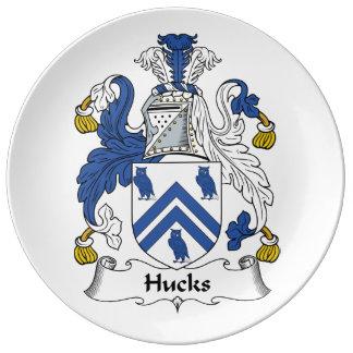 Escudo de la familia de los Hucks Platos De Cerámica