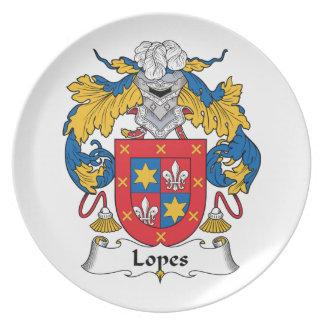 Escudo de la familia de los medios galopes platos de comidas