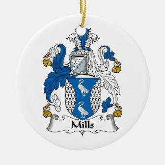 Escudo de la familia de los molinos adorno redondo de cerámica