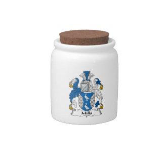 Escudo de la familia de los molinos platos para caramelos
