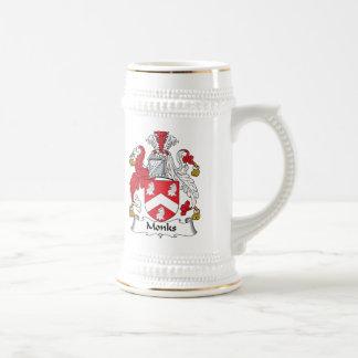Escudo de la familia de los monjes jarra de cerveza