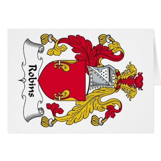 Escudo de la familia de los petirrojos tarjeta de felicitación
