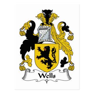 Escudo de la familia de los pozos tarjeta postal