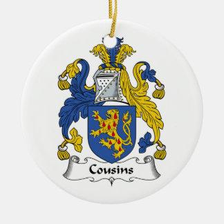 Escudo de la familia de los primos adorno redondo de cerámica