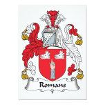 Escudo de la familia de los romanos invitación 12,7 x 17,8 cm