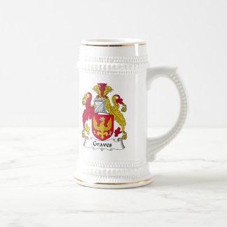 Escudo de la familia de los sepulcros jarra de cerveza