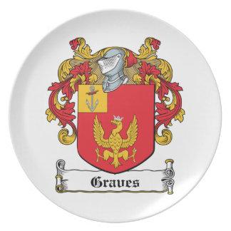Escudo de la familia de los sepulcros plato para fiesta