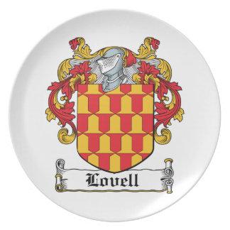 Escudo de la familia de Lovell Plato Para Fiesta