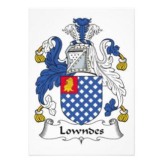 Escudo de la familia de Lowndes Invitación Personalizada