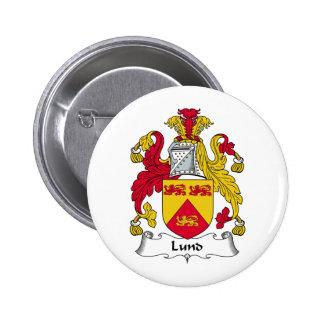 Escudo de la familia de Lund Pin Redondo De 2 Pulgadas