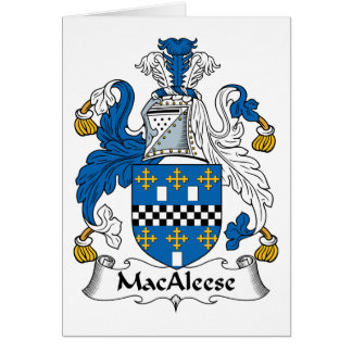 Escudo de la familia de MacAleese Tarjeta De Felicitación