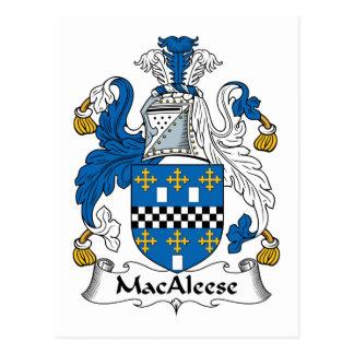 Escudo de la familia de MacAleese Tarjeta Postal