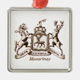 Escudo de la familia de Macartney Adorno Navideño Cuadrado De Metal