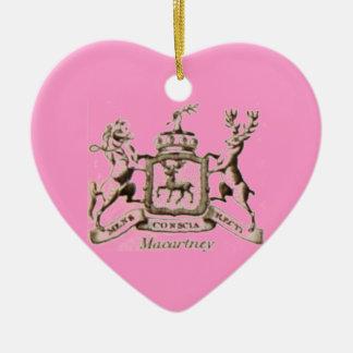Escudo de la familia de Macartney Adorno Navideño De Cerámica En Forma De Corazón