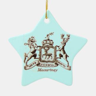 Escudo de la familia de Macartney Adorno Navideño De Cerámica En Forma De Estrella