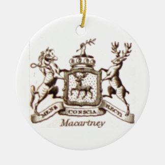 Escudo de la familia de Macartney Adorno Navideño Redondo De Cerámica