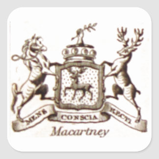 Escudo de la familia de Macartney Pegatina Cuadrada