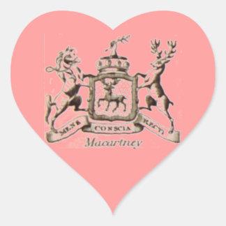 Escudo de la familia de Macartney Pegatina En Forma De Corazón