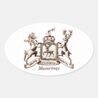 Escudo de la familia de Macartney Pegatina Ovalada