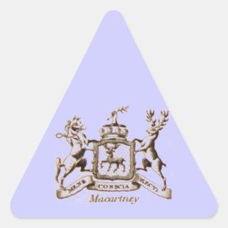 Escudo de la familia de Macartney Pegatina Triangular