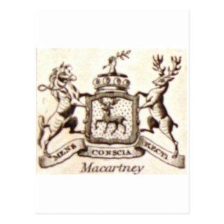 Escudo de la familia de Macartney Tarjetas Postales