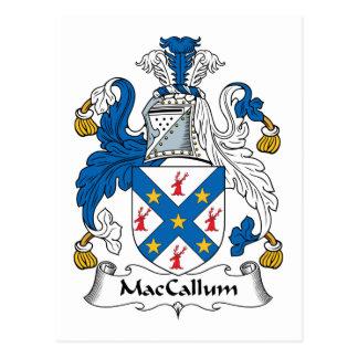Escudo de la familia de MacCallum Tarjeta Postal
