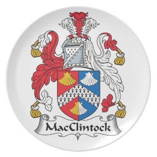 Escudo de la familia de MacClintock Plato De Cena