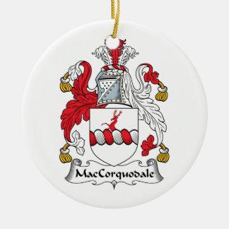 Escudo de la familia de MacCorquodale Adorno Navideño Redondo De Cerámica