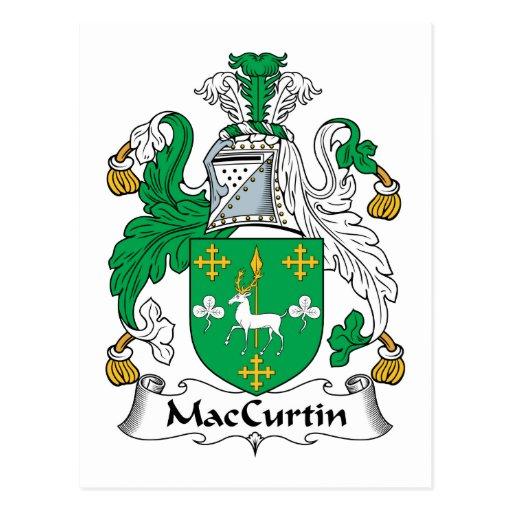 Escudo de la familia de MacCurtin Tarjetas Postales