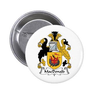 Escudo de la familia de MacDonald Pin Redondo De 2 Pulgadas