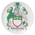 Escudo de la familia de MacDrury Plato Para Fiesta