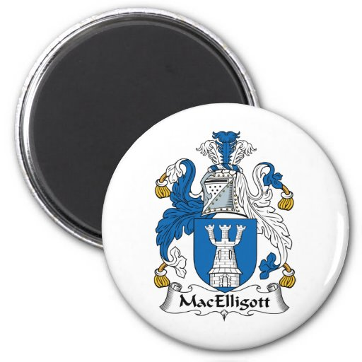 Escudo de la familia de MacElligott Imán Redondo 5 Cm
