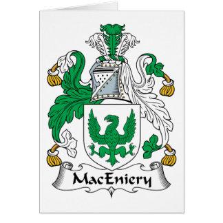 Escudo de la familia de MacEniery Tarjeta De Felicitación